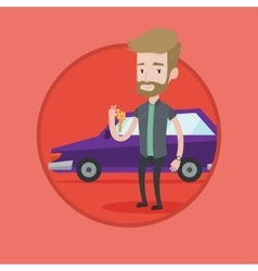 Man holding keys to his new car vector image