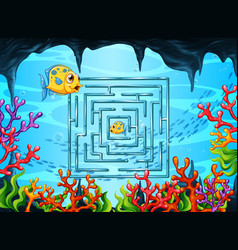 Maze game in underwater theme template vector