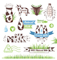 Milk icons labels and design elements vector image