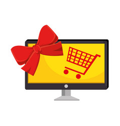 Monitor computer with shopping cart vector