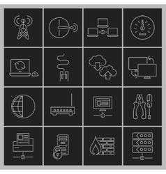 Network icons set outline vector image