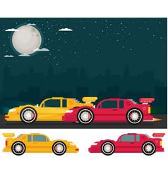 Night street racing flat vector