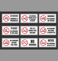no smoking signboard set smoking is prohibited vector image