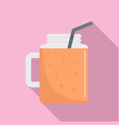 Peach smoothie icon flat style vector