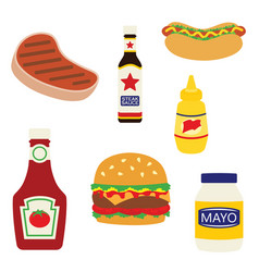 Picnic grill foods and condiments vector