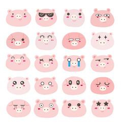 Pig face emoticons set vector