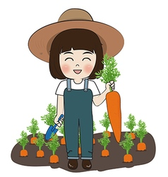 Planter and carrots vector