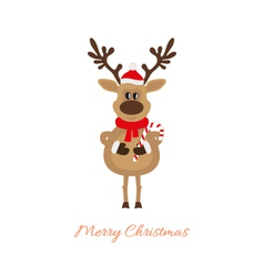 Reindeer of Christmas with caramel cane vector image