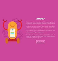 Robot on wheels with screen and limbs promo poster vector