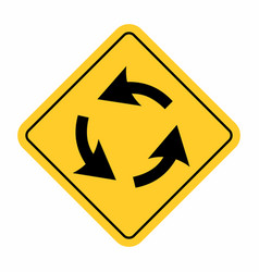 Roundabout crossroad traffic sign vector