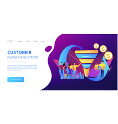 Sales funnel management concept landing page vector