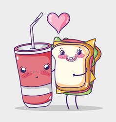 Sandwich and soda cup kawaii cartoon vector