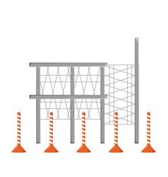 Scaffold and trafic cone vector