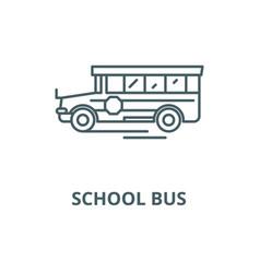 school bus line icon linear concept vector image