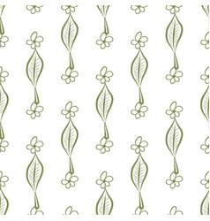 Seamless decorative hand drawn leaves flower art vector