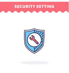 security setting icon fill and line flat vector image