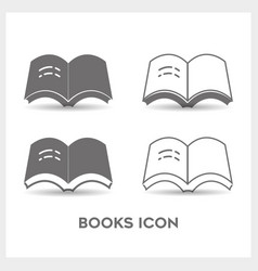 Set book black and white color vector
