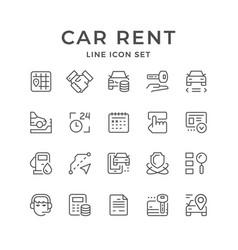 Set line icons car rent vector