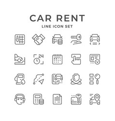 Set line icons of car rent vector