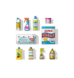 Set of different cleaning agents vector