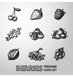 Set of freehand BERRIES icons - cherry strawberry vector