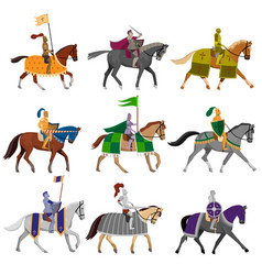 set old medieval knights in helmet with vector image