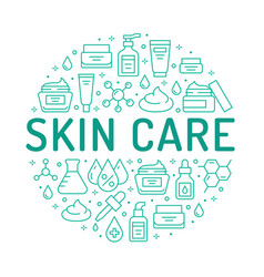 Skin care circle poster with flat line icons vector