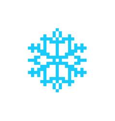 Snowflake pixel art icon snow 8bit vector