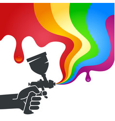 spray in hand and wave of paint vector image