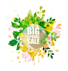 spring sale banner with shape floral vector image