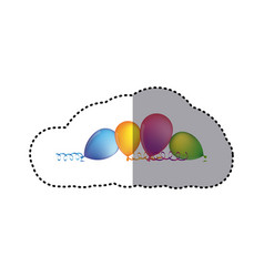 Sticker multicolored balloons with serpentine on vector