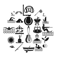 summertime icons set simple style vector image