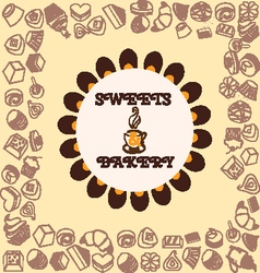 Sweets and Bakery pattern vector image vector image
