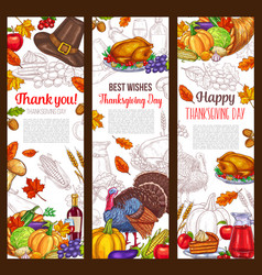 Thanksgiving day autumn holiday banners vector
