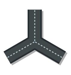 Three roads icon flat style vector