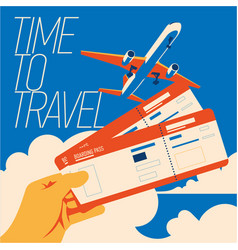 time to travel and summer holiday poster vector image