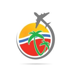 Travel sign with airplane vector