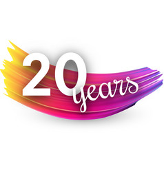 Twenty years greeting card with colorful brush vector