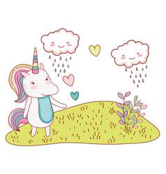 unicorn at nature drawings vector image