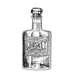 Vintage whiskey bottle with label american badge vector