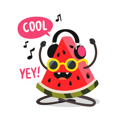 watermelon listening to music with headphones vector image