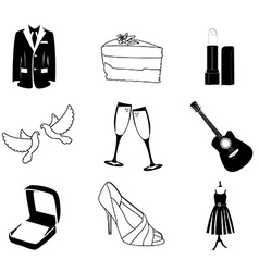 Wedding icons silhouette vector