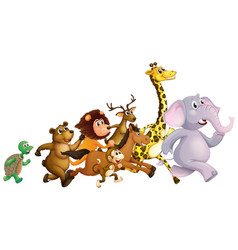 Wild animals running together vector