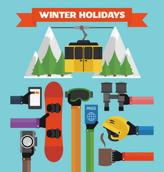winter holidays modern flat background with hand vector image