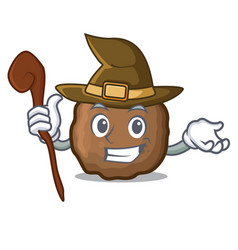 Witch meatball mascot cartoon style vector