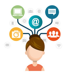 Woman avatar with social network icons vector