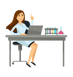 Woman scientist sits with laptop and glass flasks vector