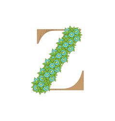 wooden leaves letter z vector image