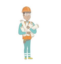 young hispanic engineer holding twisted blueprints vector image