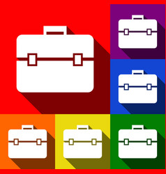 briefcase sign set of icons vector image vector image